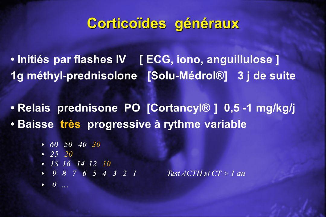 Corticoïdes généraux • Initiés par flashes IV [ ECG, iono, anguillulose ] 1g méthyl-prednisolone [Solu-Médrol®] 3 j de suite.